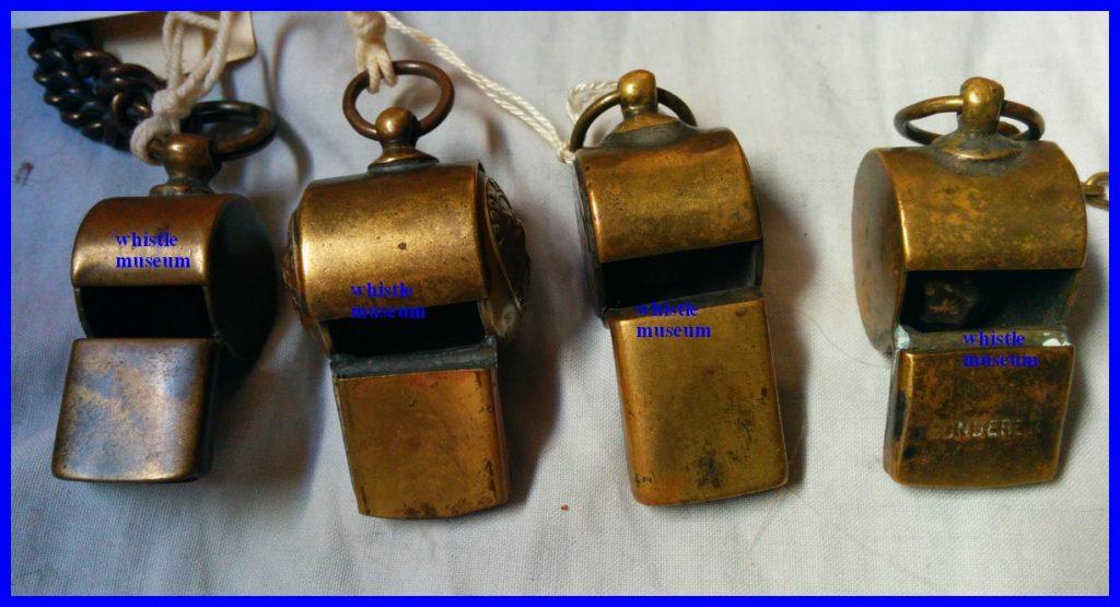 4 Black & Co Glasgow snail whistles, two button whistles whistle museum