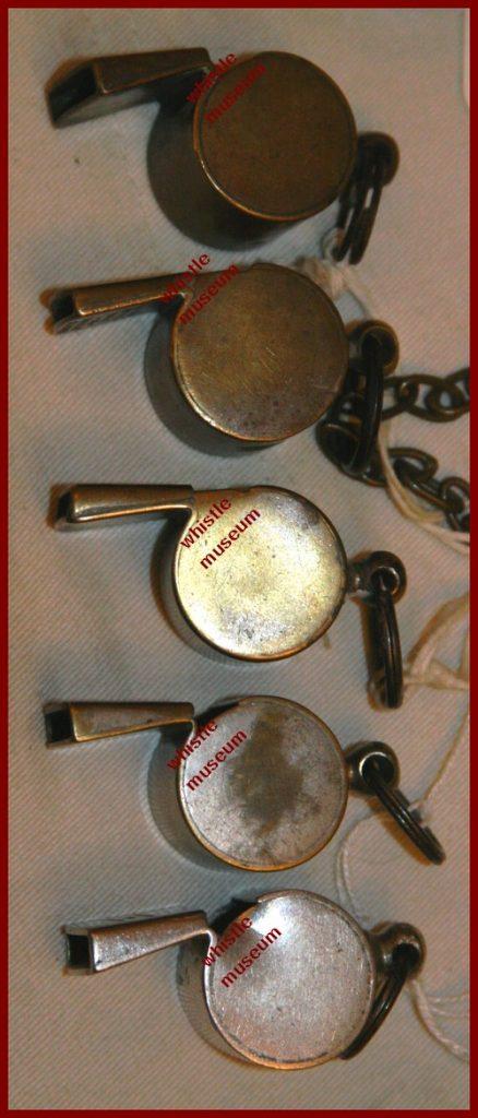 Black & Co 5 London whistles, med model side view whistle museum