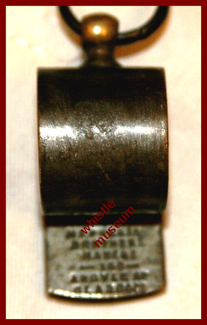 Black & Co whistle stamped underbeak McPherson Brothers Makers Glasgow etc whistle museum