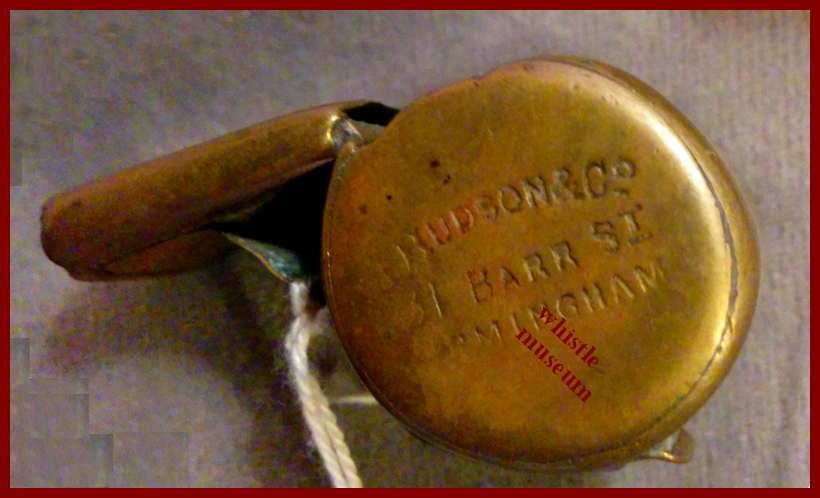 Button style earliest dated escargot snail referee whistle J. Hudson and Co 1885 131 Barr St. whistle museum