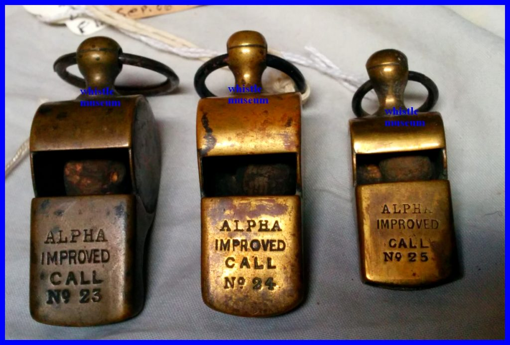 Henry Arthur Ward 3 whistle Models Alpha Gun works Escargot, snail whistles whistle museum