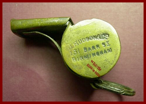 Referee whistle first dated one 131 Barr st. Acme, J. Hudson & Co whistle museum