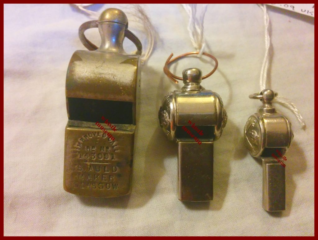 S AUld Glasgow referee railway and button whistles 1890s whistle museum