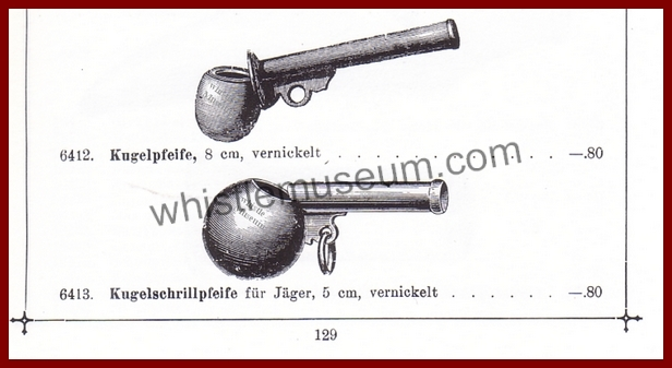 German Julius Heinirich Zimmerman 1899 spherical Kugelschriller pfeife whistle museum