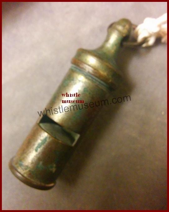 J.Dixon mid 1870s stamped w retailer's name J.Patsyon Southhampton, screw top round pea whistle whistle museum