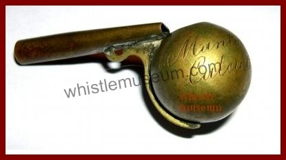 Spherical whistle sold by Manton Co. Calcuta Made By DeCourcy whistle museum