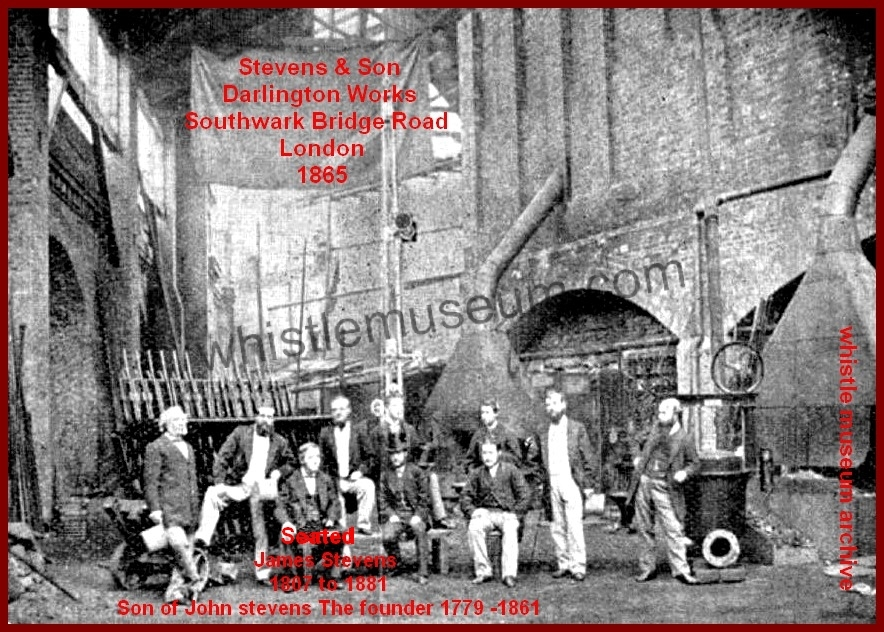 Darlington Works 1865 James Stevnes of Stevens and Son Seated whistle museum archive