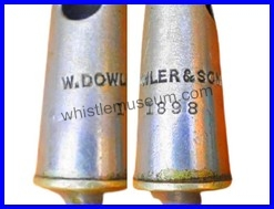 This image has an empty alt attribute; its file name is W-Dowler-Sons-3rd-Period-MilitaryTNC-Two-Notes-Conical-whistle-additional-stamps-whistle-museum.jpg
